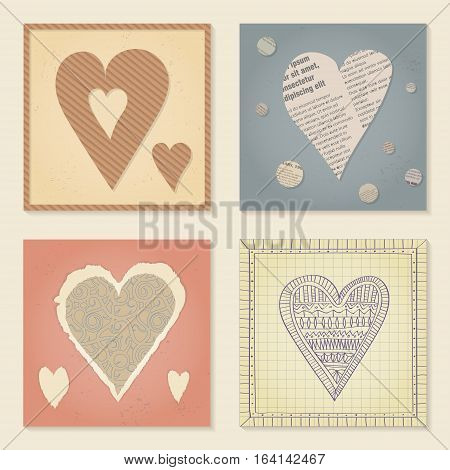 Vector set of templates on Valentine's Day 14 February. Square paper cards with heart cut out of cardboard newsprint torn decorative paper and school notebooks. Pastel colors.