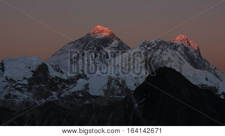 Mount Everest Nuptse and Lhotse at sunset. View from Gokyo Ri.