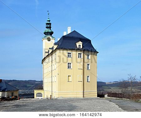 Horni zamek chateau in Fulnek in Czech republic with clear sky