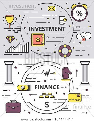 Vector set of Investment and Finance concept banners. Thin line flat design elements for web, marketing, presentation and printing.