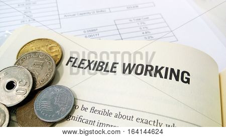 Flexible Working Word On The Book With Balance Sheet