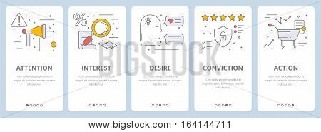 Vector set of vertical banners with attention, interest, desire, conviction and action concept elements. Thin line flat design symbols, icons for website menu, printing.