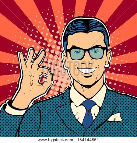 Successful businessman okay gesture OK. Business concept success. Retro style pop art. Vector illustration.