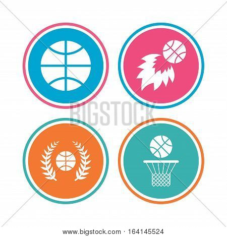 Basketball sport icons. Ball with basket and fireball signs. Laurel wreath symbol. Colored circle buttons. Vector