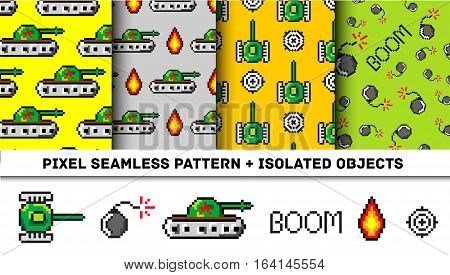 Pixel art vector objects to Fashion seamless pattern. Background with tanks, boom, for boys. trendy 80s-90s pixel art style. Retro computers game isolated elements