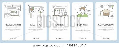 Vector set of vertical banners with preparation, meeting, rating, support, conclusion concept elements. Thin line flat design concept for website menu, promotional materials, education app.