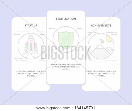 Vector set of vertical banners with start up, stabilization, achievement concept elements. Thin line flat design symbols, icons for website menu, print.