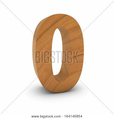 Wooden Number Zero Isolated On White With Shadows 3D Illustration