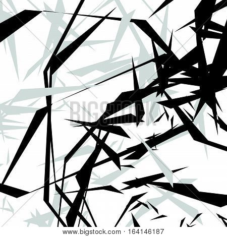 Geometric Edgy Rough Pattern. Abstract Black And White Art.