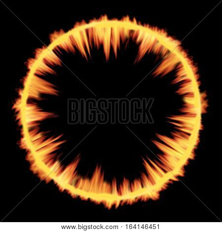 Cosmic radial circle Explosion shockwave fire texture.