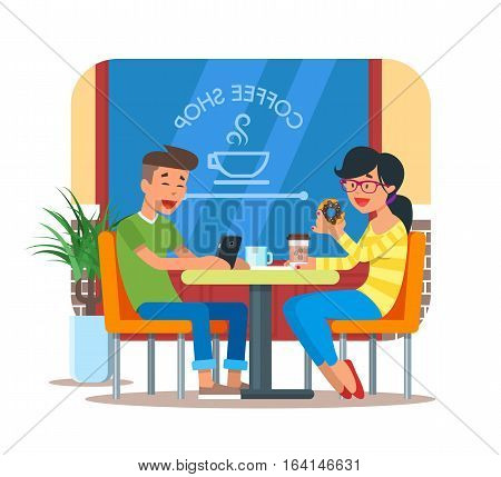 Vector illustration of coffee shop design element with visitors, young couple sitting at table and having breakfast or coffee break. Coffee shop interior and cartoon character in flat design.