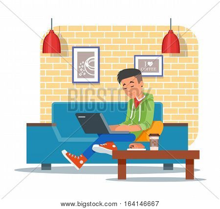 Vector illustration of coffee shop design element with visitor, young man with laptop sitting on sofa. Coffee shop interior and cartoon character in flat design.