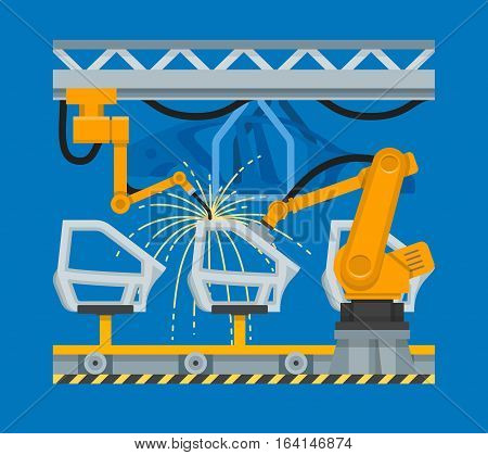 Vector illustration of spot welding of car doors with industrial robots. Plant conveyor belt. Automobile industry automation concept design element in flat style.