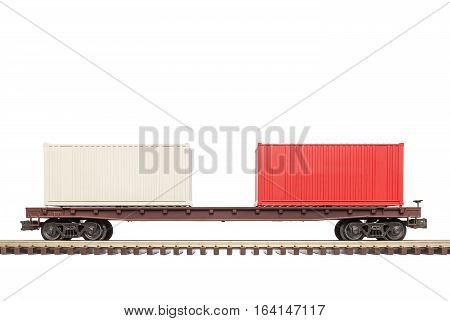 A railroad flat car with a load of containers.
