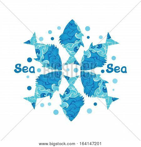 pattern with collection of tropical fish. Vintage set of hand drawn marine fauna. Vector illustration in line art style. Design for summer beach, decorations.