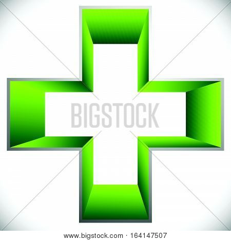 Medical Cross Icon – 3D Cross, Plus Shape For Healthcare, First Aid, Medical Or General Concepts