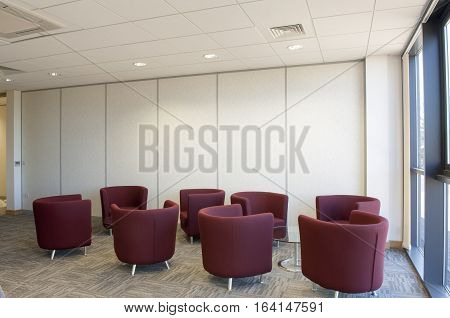 Breakout seating in a modern office building