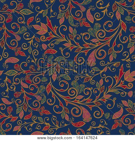 Vector abstract pattern with tree branches, items of Paisley, leaves and flowers.