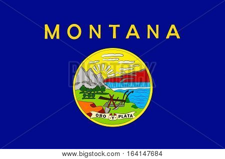 Flag of Montana is a state of United States. Vector illustration
