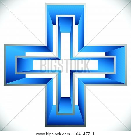 Bright Cross As Healthcare, First Aid Icon Or Logo