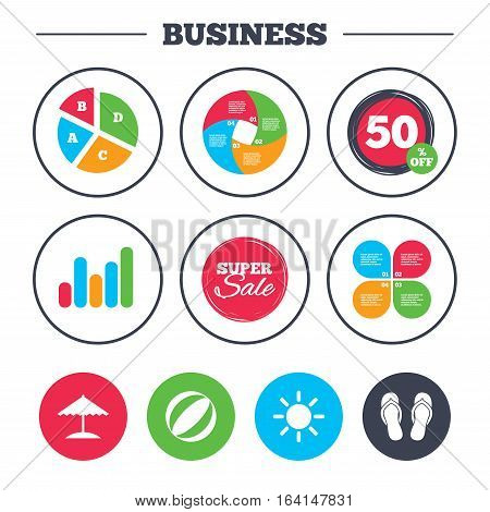 Business pie chart. Growth graph. Beach holidays icons. Ball, umbrella and flip-flops sandals signs. Summer sun symbol. Super sale and discount buttons. Vector