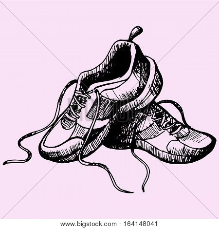 Detailed sport sneakers shoes doodle style sketch illustration hand drawn vector