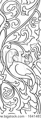 Black and white floral pattern. Filigree ornament. Stylized template for wallpaper frame textile bedspread curtain shawl tile carpet and any surface. Pattern with birds.