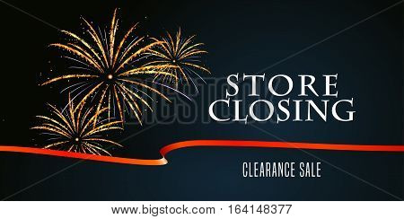 Store closing vector illustration background with firework. Template banner design element for clearance sale
