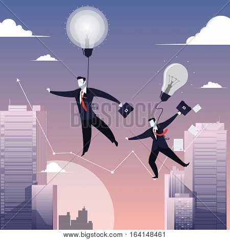 Vector illustration of businessmen with briefcases walking on tightrope like funambulist. Electric light bulbs symbol of new ideas. Business risk, success, failure concept design element in flat style