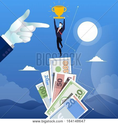 Vector illustration of forefinger pointing at successful businessman standing on the top of money stairs. He is holding cup in his hands. Business success concept design element in flat style