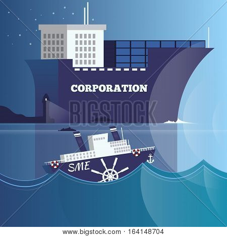 Vector illustration of big cruise ship representing corporation and small ship representing small and medium-sized enterprises. Business structure and leadership concept design element in flat style.
