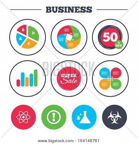 Business pie chart. Growth graph. Attention and biohazard icons. Chemistry flask sign. Atom symbol. Super sale and discount buttons. Vector
