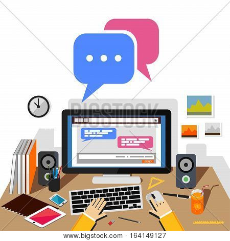 Chatting on social website or social media application with desktop. Chatting concept illustration.