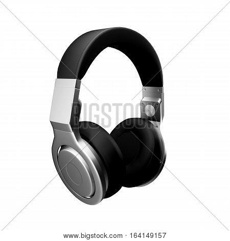 Black leather headphones isolated on white background d illustration render.