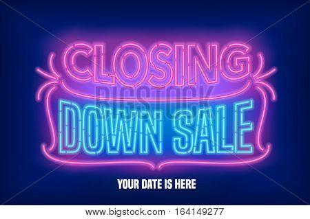 Store closing sale vector banner illustration. Nonstandard design element with retro lettering for closing down clearance sale