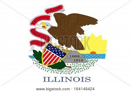 Flag of Illinois is a state of United States. Vector illustration