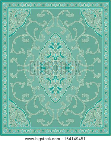 Oriental abstract ornament. Turquoise template for carpet coverlet shawl textile and any surface. Ornamental pattern with filigree details.