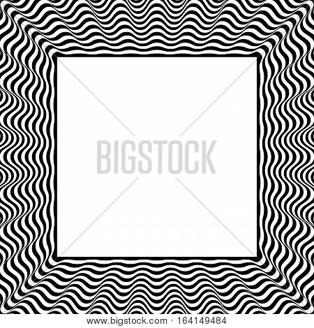 Frame With Distorted Radial (wavy, Zigzag) Lines. Monochrome Geometric Borders.
