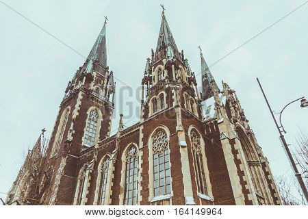 Gothic Church In Cold Winter Day