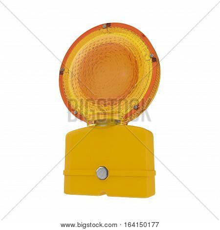 Conspicuous yellow warning road flashlight. Bypass, road work, accidents or other road used to indicate danger. Isolated on white background. 3D illustration
