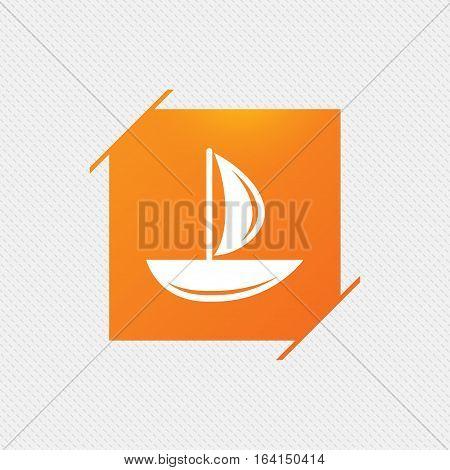 Sail boat icon. Ship sign. Shipment delivery symbol. Orange square label on pattern. Vector