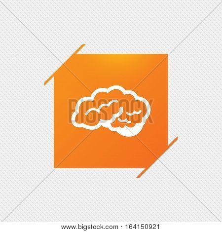 Brain with cerebellum sign icon. Human intelligent smart mind. Orange square label on pattern. Vector