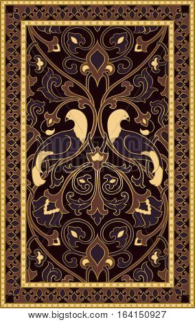 Rich floral pattern. Dark filigree ornament. Stylized template for textile bedspread curtain shawl tile carpet and any surface. Color background with birds and flower.