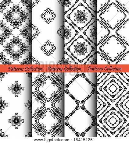 Set of floral seamless patterns. Elegant forged ornament for wallpaper, fabric, paper, invitation print. Stylized damask vector background. Black and white flourish motif. Unusual vintage vector.
