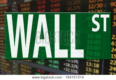 a wall street logo on stock market price index