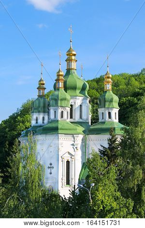 Vidubichi monastery in Kiev, Ukraine. The monastery was established between 1070 and 1077 by Vsevolod, son of Yaroslav the Wise. It was a family cloister of Vsevolod's son Vladimir Monomakh and his descendants.