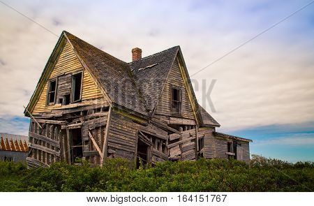 Sagging abandon house in rural prince edward island