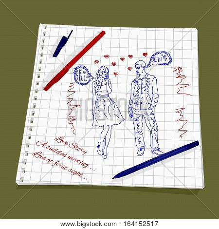 Love Story - A sudden meeting. Vector illustration of a love at first sight. The drawing a red and blue ballpoint pen on squared paper - Man and woman flirting