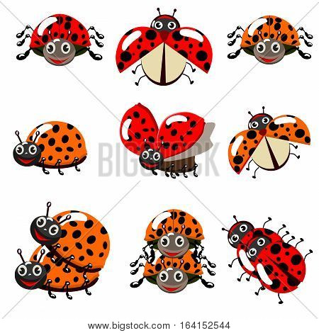Cute colorful ladybugs clip art collection isolated on white background