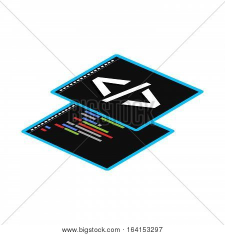Programming or coding symbol for web banner, web element, or infographic